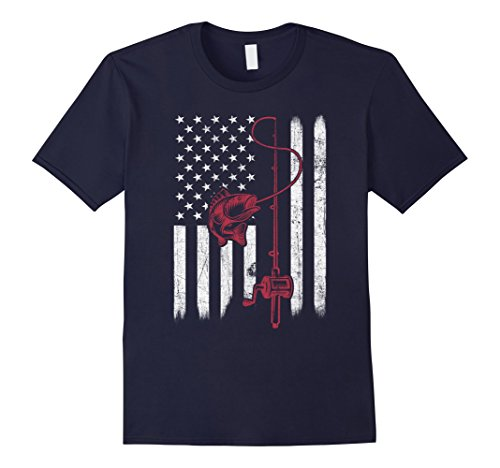 Mens Vintage Fishing Tshirt with American Flag Bass Fishing XL (Lure T-shirt)