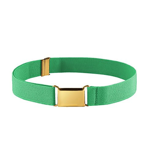 Green Kids Belt (FIT RITE Kids Elastic Adjustable Stretch Belt for Boys Girls Toddlers With Gold Square Buckle (Green))