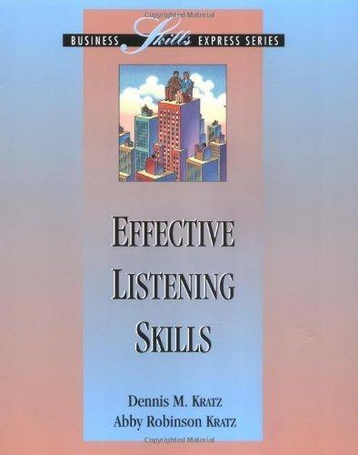 Effective Listening Skills by Dennis Kratz (1995-04-01)