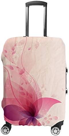 スーツケースカバー トラベルケース 荷物カバー 弾性素材 傷を防ぐ ほこりや汚れを防ぐ 個性 出張 男性と女性花とカラフルな背景