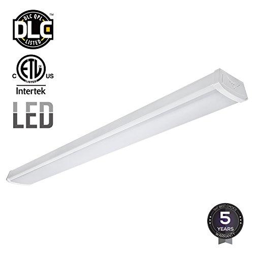LEONLITE 40W 4ft LED Wraparound Garage Shop Light Flush Mount Ceiling Light, 100W Equiv. Ultra Bright 4000lm, Daylight 5000K for LaundryRooms,Hallways, (Fluorescent Linear Pendant)