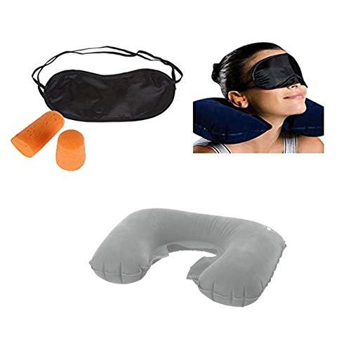 Inflatable Travel Neck Pillow Ear Plug & Sleep Mask Set – Grey