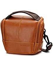 DOMISO Water-Restraint Camera Case Anti-Shock Outdoor Shoulder Bag with Strap, Brown