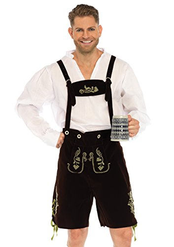 Leg Avenue Men's 3 Piece Oktoberfest Lederhosen Costume, Brown/White, (Male Lederhosen)