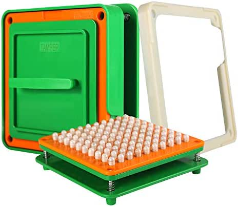 100 Holes (0#) Capsule Holder with Tamper for Size 0 Capsules Holding Tray Pill Dispensers & Reminders Green