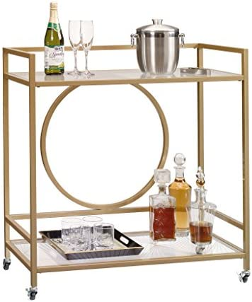 Sauder 417828 International Lux Bar Cart, Glass Satin Gold Finish