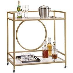 Sauder 417828 International Lux Bar Cart, Glass/Satin Gold Finish