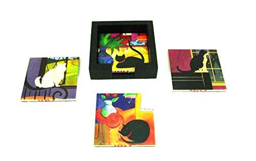 Ceramic Tile Coaster, Cat, 4-Piece Assort. Set, Size 4