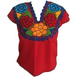 Casa Fiesta Designs - Blusa de diseño Floral Mexicano, Bordada, auténtica, Hecha a Mano, algodón, Color Rojo, Rojo, Small and Medium