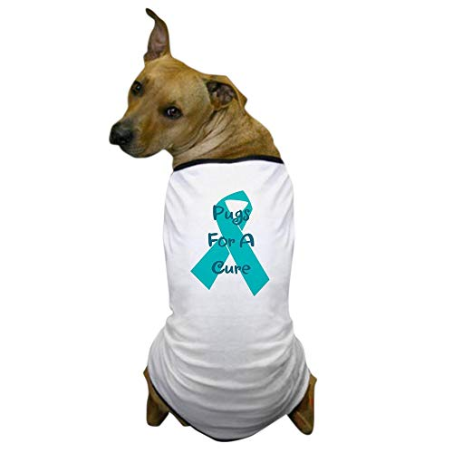 CafePress Pugs for A Cure Ovarian Cancer Ribbon Dog T-Shirt, Pet Clothing, Funny Dog Costume