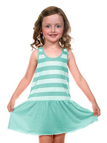 (Kavio! Little Girls 3-6X Striped Jersey Scoop Neck Racer Back Tank Dress Striped White/IceGreen 3)