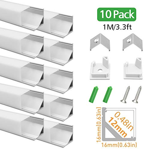 LightingWill LED Aluminum Channel V-Shape 10 Pack 3.3ft 1M Silver Corner Mounting Extrusion for 12mm Width SMD 3528 5050 LED Strips with Oyster White Cover, End Caps and Mounting Clips V01S10