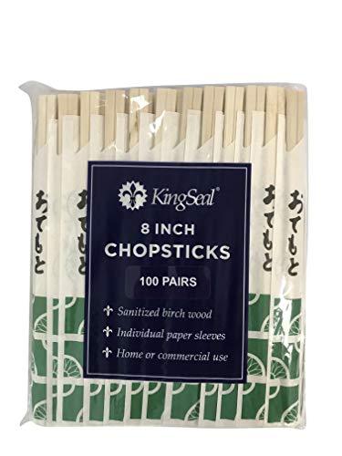 KingSeal 8 Inch Natural Birch Wood Chopsticks,