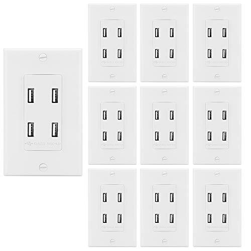 BESTTEN Multiple USB Charging Station, Wall Outlet Receptac