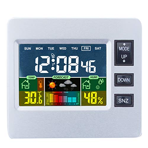 JIMEI Digital Wireless Weather Station with LCD Color Display for Weather Forecast with Indoor Sensor Temperature Humidity Monitor Alarm Clock ()