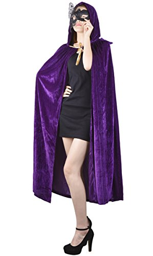 Womens Velvet Hooded Cloak Costumes Halloween Wizard Hooded Party Cape Christmas(Purple) -