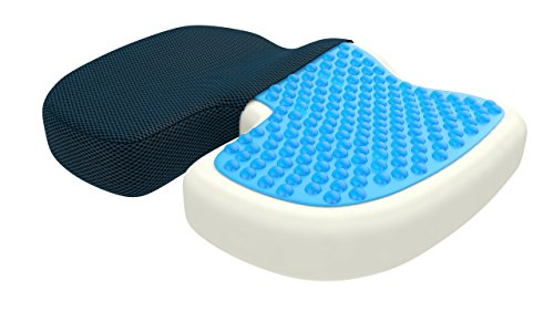 bonmedico Standard Orthopedic Seat Cushion, Gel and Memory Foam Seat Pillow to Relieve Back, Sciatica and Coccyx/Tailbone, Great As Office Chair Cushion, Car Seat Cushion Or for Wheelchair, Blue