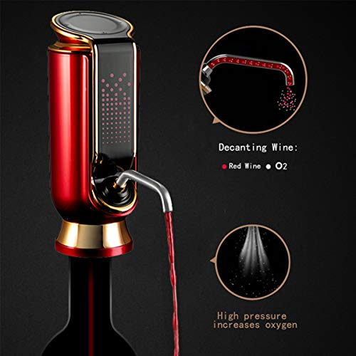 Electric Wine Aerator and Pourer, ELMWAY Keep Fresh Wine Decanter Pump Dispenser One-Touch with USB Chargeable LED Touch Display Air Decanter Smart Multi-function Wine Dispenser