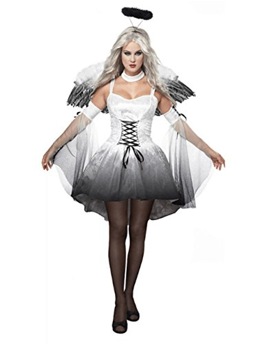 [Coolmee Women's Halloween Sexy Angle Vampire Cosplay Costume Three Piece Suit White M] (Nightwing Halloween Costumes)