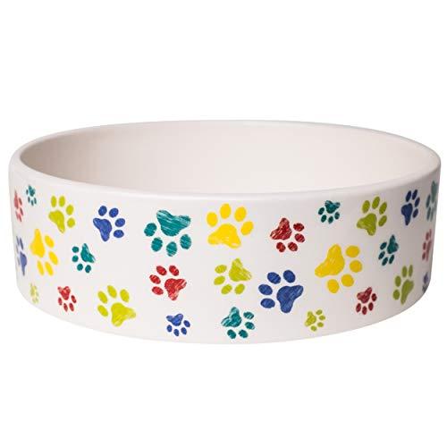 Bowl Prints Ceramic Paw - Park Life Designs Medium Pet Bowl, Inguia Pattern, 6-1/2