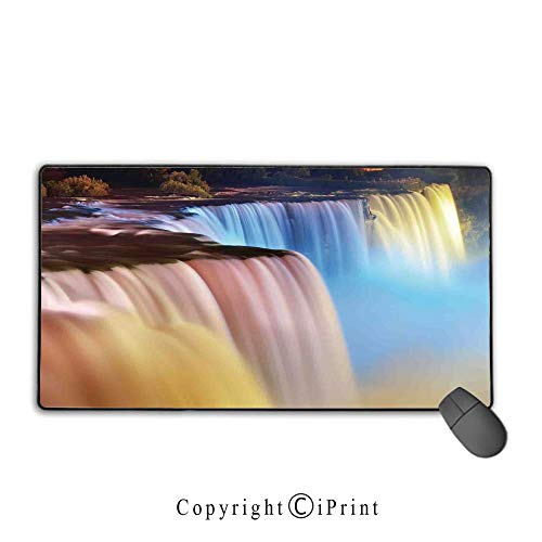 (Mouse pad with Lock,Waterfall,Niagara Falls Colorful Cascade Stream at Night View Waterfall Scenic Picture,Multicolor,Ideal for Desk Cover, Computer Keyboard, PC and)