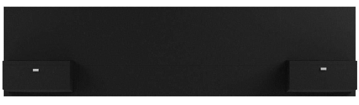 Prepac Series 9 Designer Floating Headboard with Nightstands, Queen, Black by Prepac