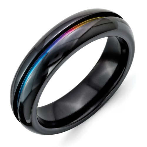 Titanium Black Multi-colored Annodized 6mm Polished Band Best Quality Free Gift Box