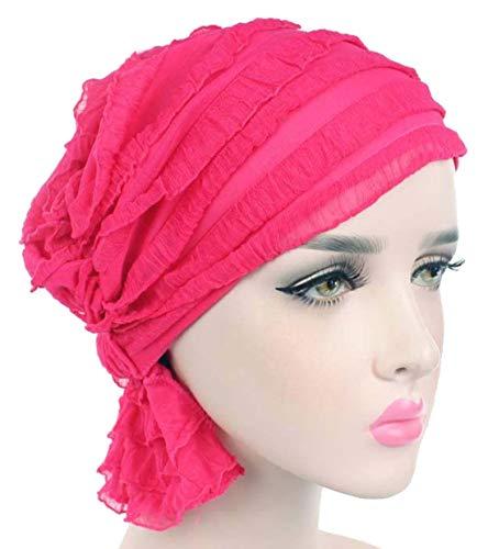 Chemo Cancer Head Scarf Hat Cap Hair Cover Wrap Stretch Turban Headwear (C Rose red -