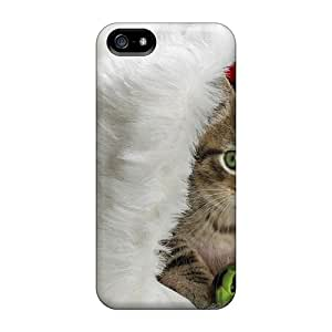 New Arrival Ivo6211bqgB Premium Iphone 5/5s Cases(christmas Kitten In Santa's Hat)