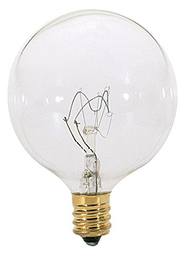 Satco 15G16 1/2 Incandescent Globe Light, 15W E12 G16 1/2, 24 Clear Bulbs