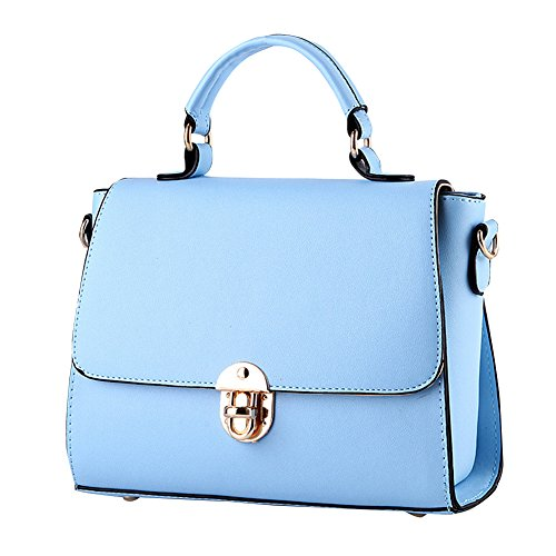 Blue for Tote Bags middle style Women new Bronze PU fashion Shoulder Ladies Handbags bag handbags Women PU women Handle Leather leather new Top Sky qgTq0w4