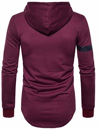 Sleeve Hooded Fit Casual Pullover Long today Sweatshirt Red Winter UK Slim Mens Wine CqT4wU61