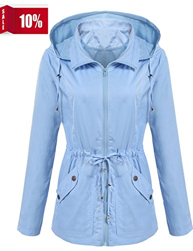 ANGVNS Women's Waterproof Lightweight Rain Jacket Anorak With Detachable Hood