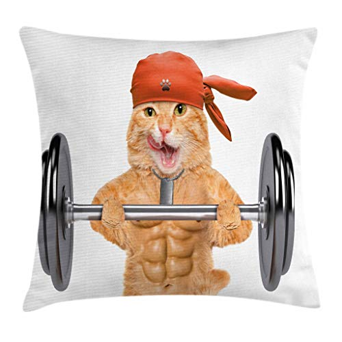 """Ambesonne Funny Throw Pillow Cushion Cover, Fitness Cat Lifting a Big Dumbbell Muscled Kitty Body Building Gym Humor Image, Decorative Square Accent Pillow Case, 24"""" X 24"""", Brown Grey"""