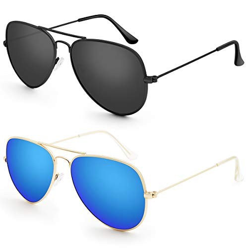 Livhò G 2 Pack of Sunglasses for Men Women Aviator Polarized Metal Mirror UV 400 Lens Protection (Black Grey+Gold Navy Blue) (Find Best Price On Prescriptions)