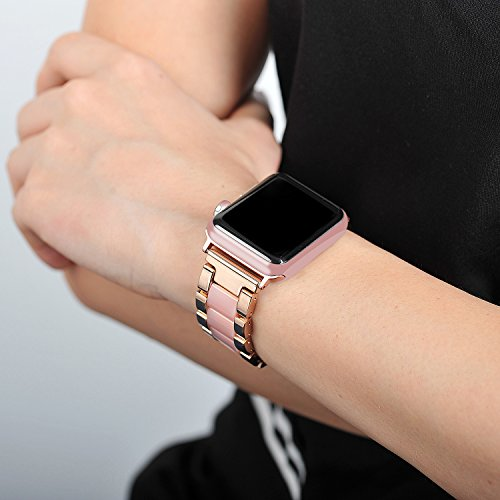 For Apple Watch Band 38mm, Wearlizer Fashion Metal Wristbands Replacement iWatch Stainless Steel Strap for Apple Watch Series 3, Series 2, Series 1, Sport, Edition---38mm Rose Gold + Pink