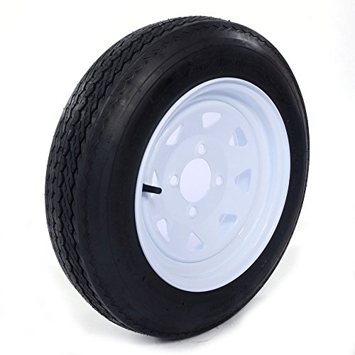 Motorhot Two 4.80 X 12 Trailer Tire & Rim 4.80-12 480-12 Load B 4 Lug Wheel White Spoke (Pack of 2)