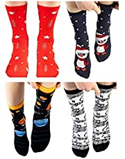 4 Pairs Socks - Cotton Colorful Special Designed, Soft, Style, Comfort Socks