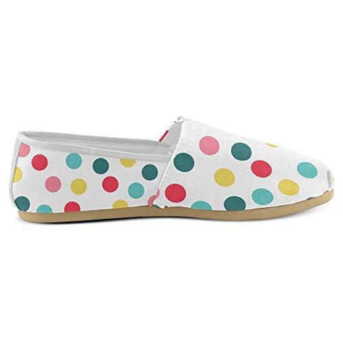 Interestprint Mocasines Para Mujer Clásico Casual Slip De Lona En Los Zapatos De Moda Sneakers Flats Colorful Polka Dot