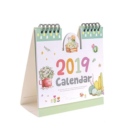 TUANTUAN 1 Pcs Mini 2018-2019 Desk Calendar Cartoon Stand Up Desktop Paper Calendar with Chinese Holiday,Succulent Plants