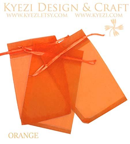 (100 Pcs Orange 5x7 Sheer Drawstring Organza Bags Jewelry Pouches Wedding Party Favor Gift Bags Gift Bags Candy Bags [Kyezi Design and Craft] )