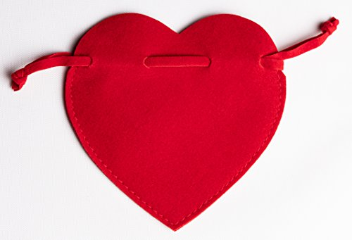 - TITEL Bags, Type - Heart Shape Bag -for Jewlery and Small Expensive Objects-Extra German Quality- Velvet on Both Sides Imported from Italy. - 50 pcs Velvet -Jewelry Gift Bags - German craftsmans