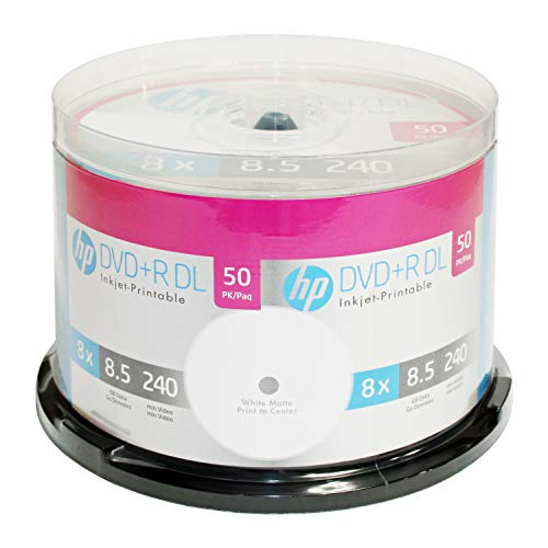 Hp DVD+R Dl Double Layer 8X 8.5Gb White Inkjet Printable 50 Pack in - Layer Inkjet