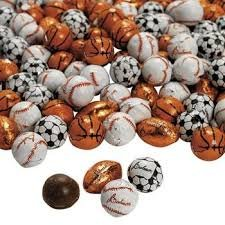 Chocolate Covered Football Soccer Baseball and Basketball Christmas Candy - 5 Pounds Bulk Wholesale - Individually Foil Wrapped (Ultimate 4 Ball Variety Mix) for $<!--$29.95-->