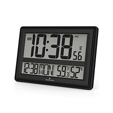 MARATHON CL030056BK Jumbo Atomic Wall Clock with Temperature and Humidity