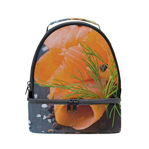 (Fresh And Juicy Salmon Portable School Shoulder Tote Lunch Bag Handbag Kids Double Lunch Box Reusable Insulated Cooler For Women Student Travel Outdoor)