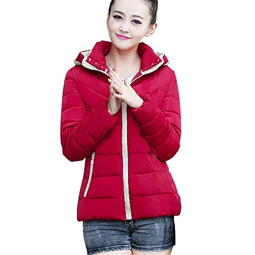 Toimoth Women Thicker Zipper Hooded Coat Long Sleeve Cotton-Padded Jackets Outerwear with Gloves and Pocket(Wine Red,L)