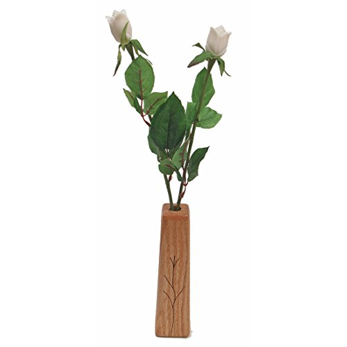 JustPaperRoses 14th Year Wedding, 2-Stem Artificial Ivory Roses with Vase, Perfect Present for Wife or - Gift Vase Perfect
