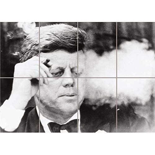 PANEL ART PRINT VINTAGE PHOTOGRAPH B&W JFK KENNEDY PORTRAIT SMOKING CIGAR REPRODUCTION POSTER -