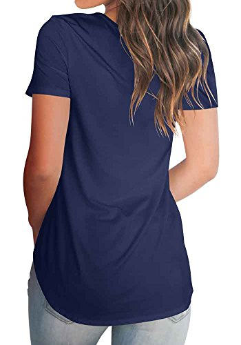 Tee T Summer Blouse V S Basic Navy Tops Neck Women's Blue Shirt Sleeve Loose XXL Short Casual Bodycon4U B8xPnfwpq